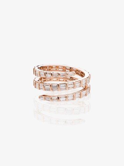 18K rose gold baguette diamond coil ring