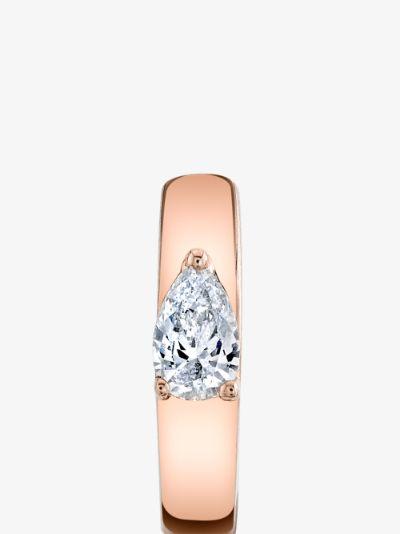 18K Rose Gold diamond huggie earrings