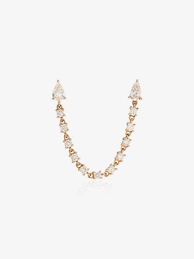 18K rose gold double piercing loop diamond earring
