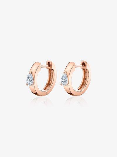 18K Rose Gold Huggie Diamond Hoop Earrings