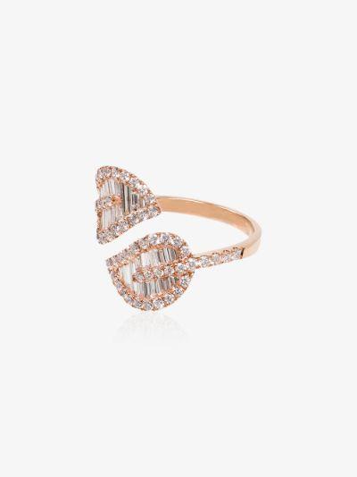 18K rose gold palm leaf diamond ring