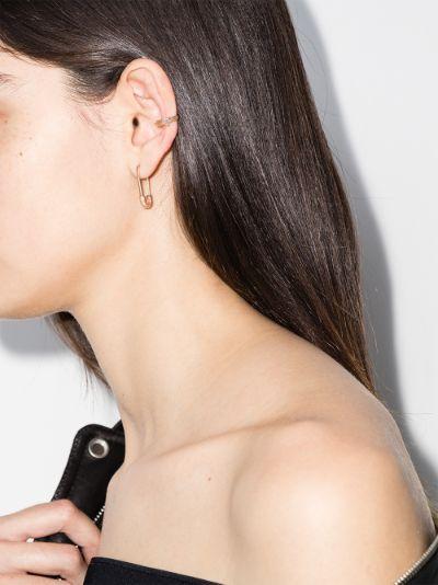 18K rose gold safety pin earring