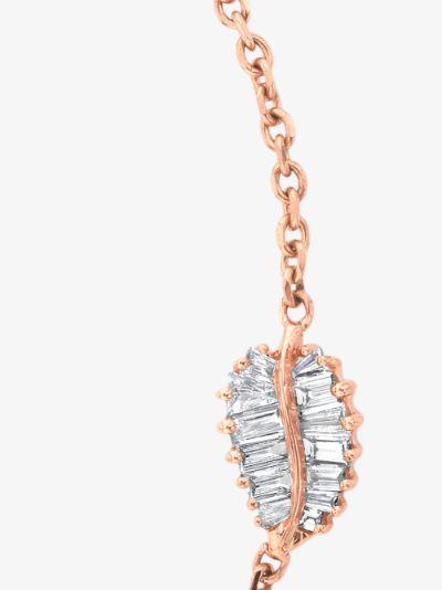 18K rose gold small palm leaf diamond bracelet