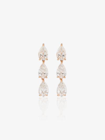 18K rose gold three pear diamond stud earrings
