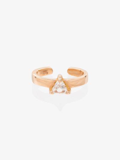 18K rose gold trillion diamond ear cuff