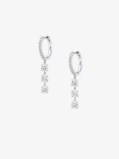 18K white gold diamond drop huggie hoop earrings