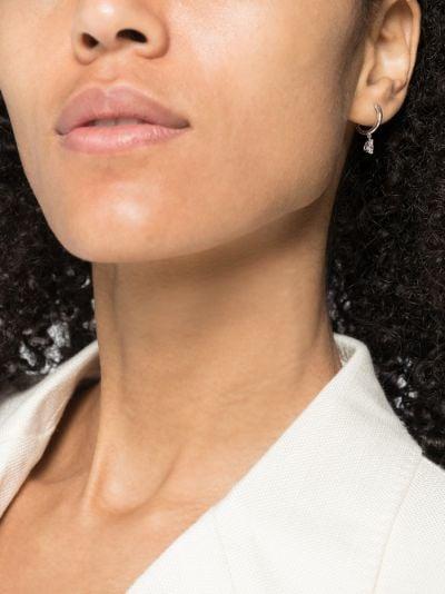 18K white gold pear diamond hoop earring