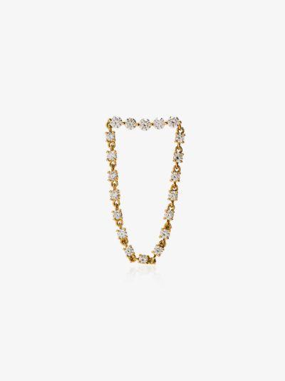 18K yellow gold and diamond loop earring