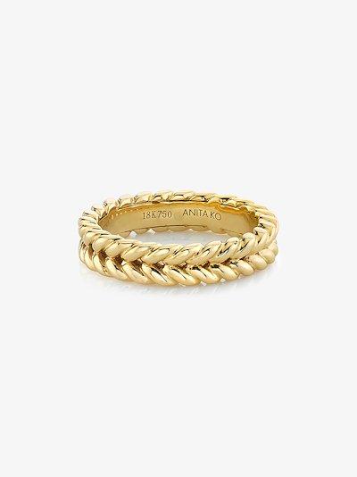18K yellow gold braided ring