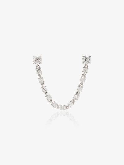 18K yellow gold double piercing loop diamond earring