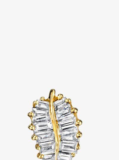 18K Yellow Gold small Palm Leaf Diamond Earrings