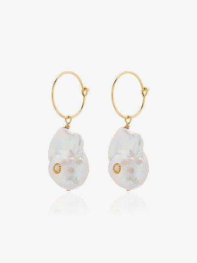 gold-plated Baroque pearl hoop earrings