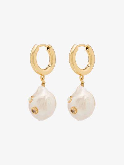Gold-plated Gertrude pearl hoop earrings