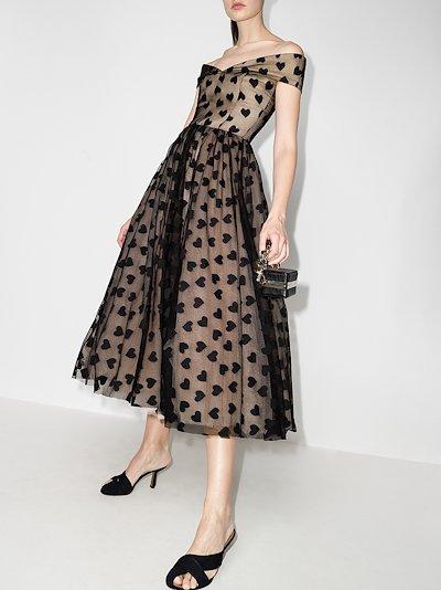 Brigitte off-the-shoulder heart print dress