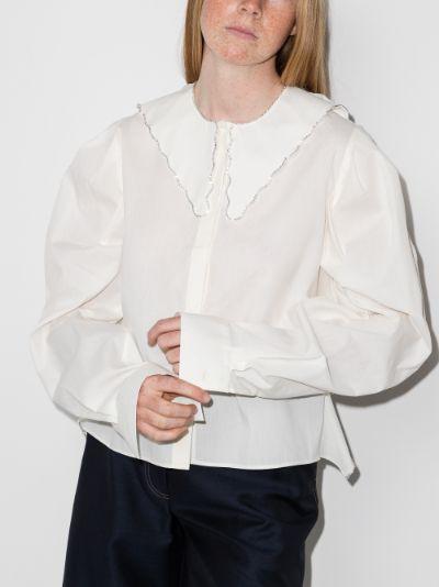 embellished open back shirt