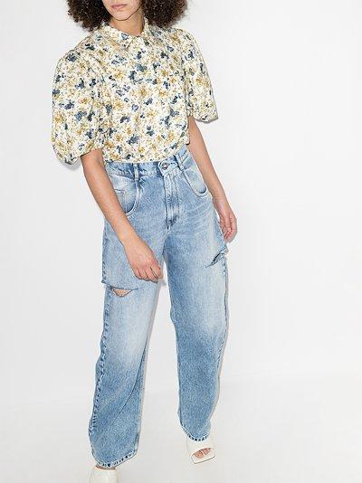 floral print puff sleeve shirt