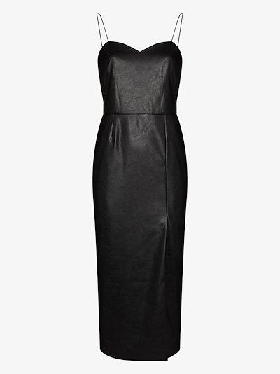Marilyn vegan leather midi dress