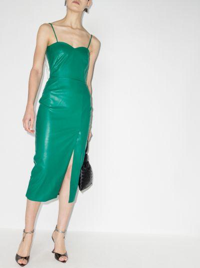 open back faux leather dress