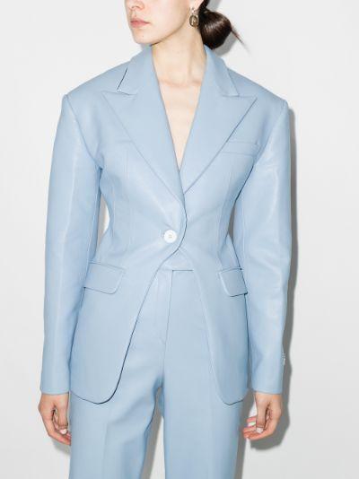 vegan leather single-breasted blazer
