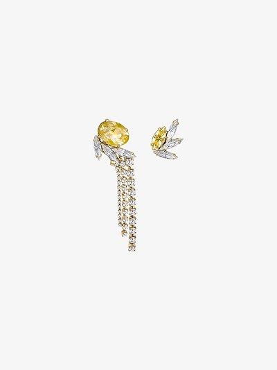 gold-plated asymmetric crystal earrings