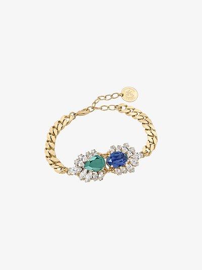 gold-plated crystal Cuban link bracelet