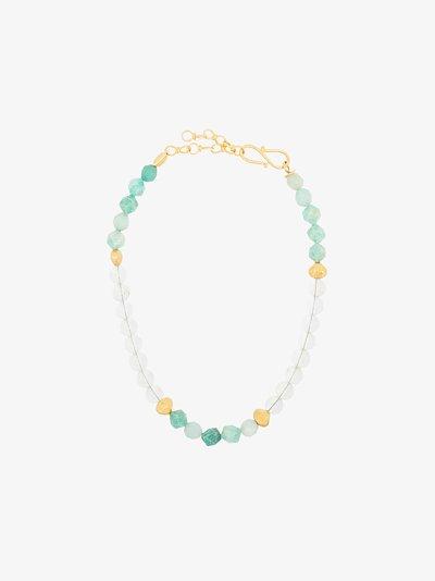 24K gold-plated Blue Lagoon quartz necklace