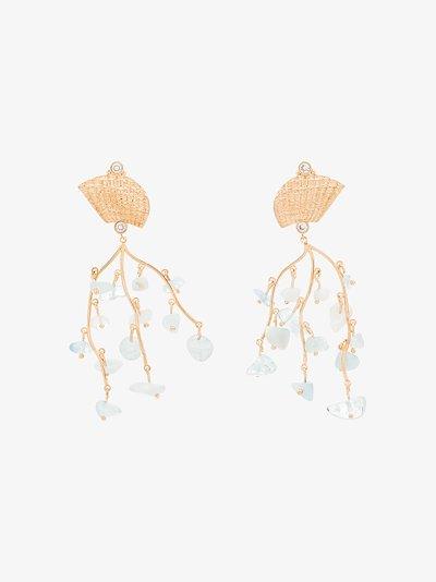 24K gold-plated Shell Crown aquamarine earrings