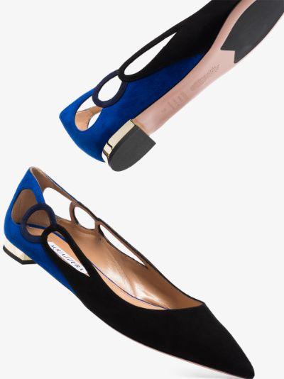 black and blue fenix suede pumps