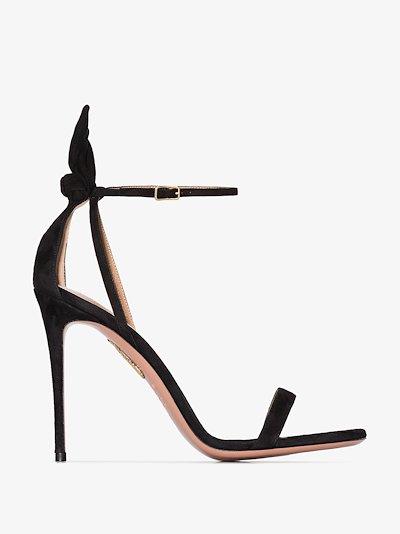 black bow tie 105 suede sandals