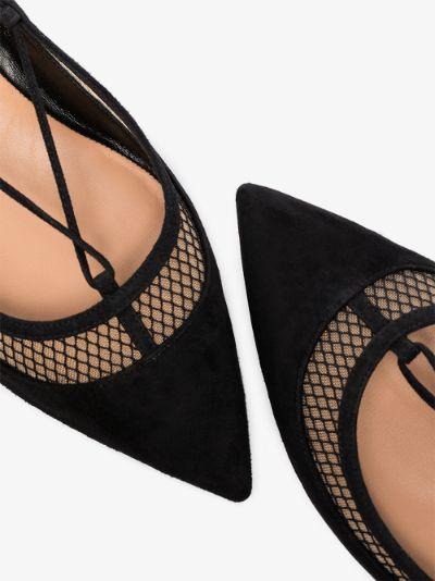 black Dalia ankle tie suede pumps