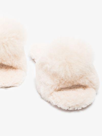 Cream Foxy pom-pom slippers
