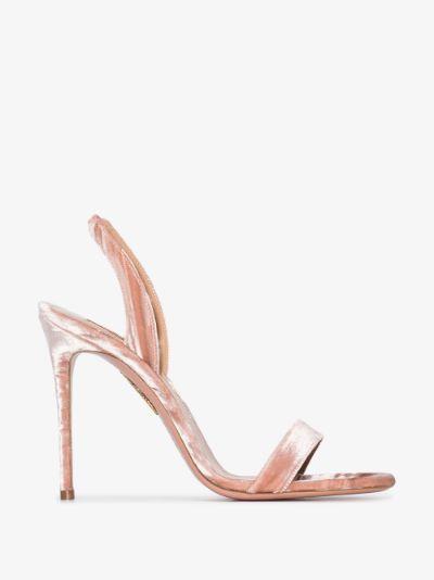 pink So Nude 105 velvet sandals