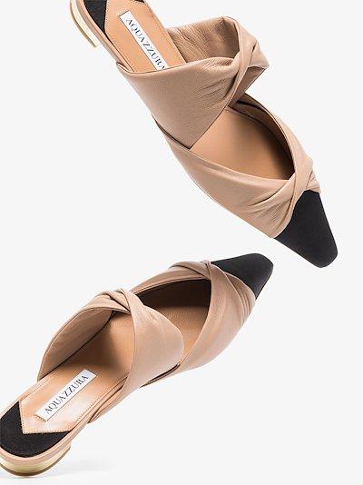 Twist leather flat mules