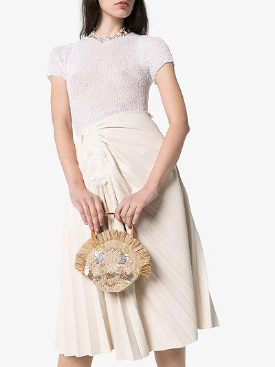 Beige Serena embellished raffia mini bag