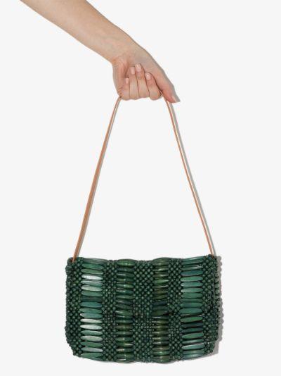 green Clara beaded shoulder bag