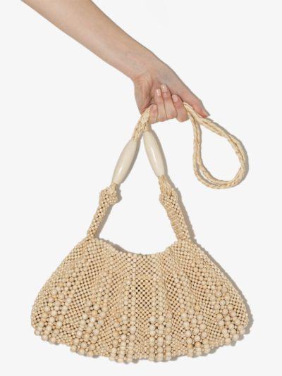 neutral beaded shoulder bag