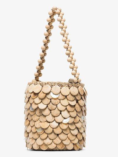 neutral Fishscale mini abaca bucket bag