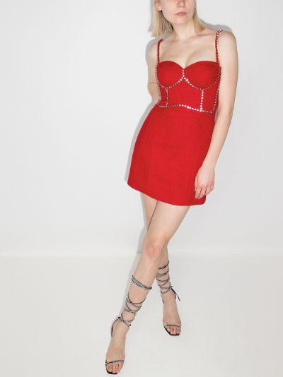 crystal trim bustier mini dress