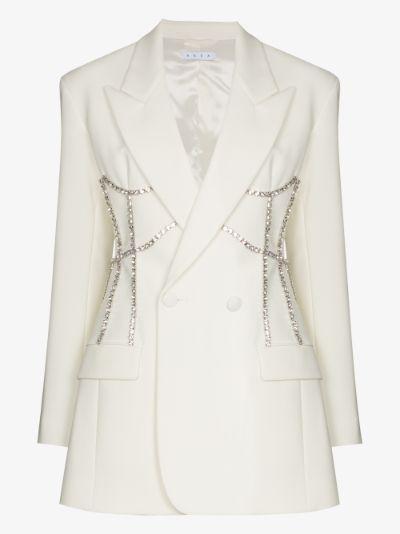 crystal trim corset blazer