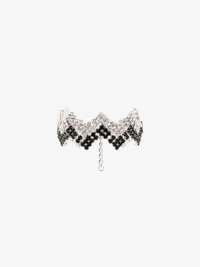 Silver tone arrow crystal choker