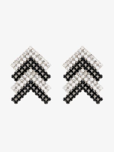 silver tone Arrow crystal earrings