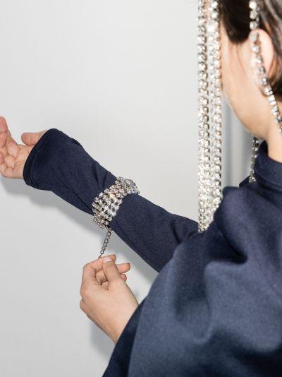 silver tone twist crystal bracelet