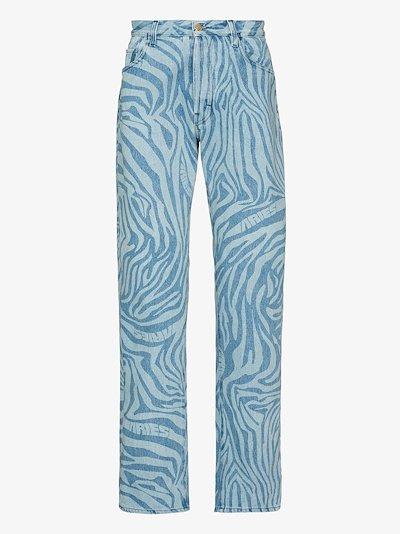 Zebra Print Straight Leg Jeans