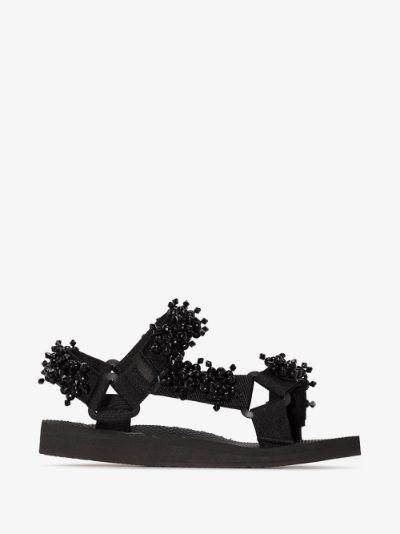 black Trekky beaded sandals