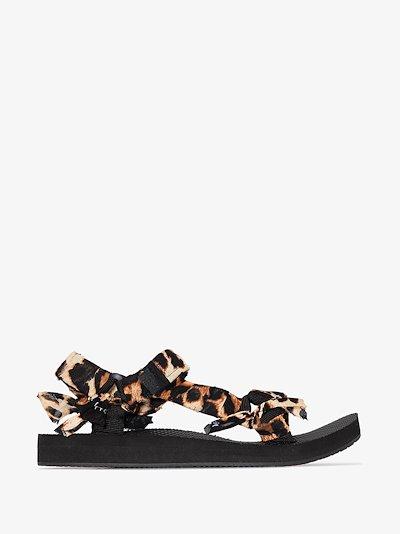 Black Trekky leopard print bandana sandals