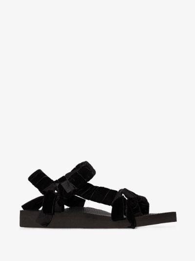 black Trekky velvet knotted sandals