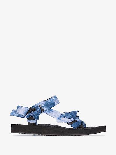 blue bandana knotted flat sandals