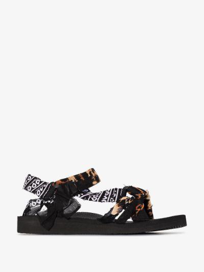 Brown Trekky leopard print bandana sandals