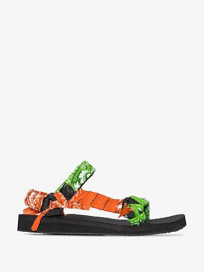 green and orange bandana knotted flat sandals