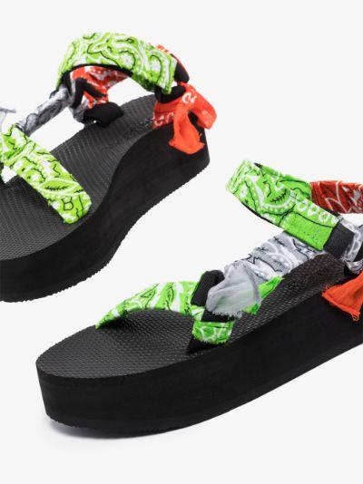 Green Trekky Bandana Platform Sandals